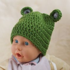 For sale crochet! Ready to ship! Kermit the Frog Hat for Baby, Newborn, Infant by  $10.80 (more at http://www.TamaraSlack.etsy.com)    Ship to U.S., Canada, U.K., and Australia