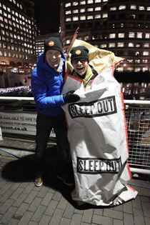 20 top business leaders slept out for Centrepoint in Canary Wharf in March 2013. Yes, it was cold!