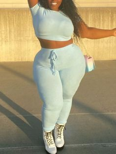 Plus Size Two Piece, Blue Two Piece, Two Piece Pants Set, Thick Girls Outfits, Curvy Outfits, Plus Size Outfits, Plus Size Casual, Casual Tops, Fat Black Girls
