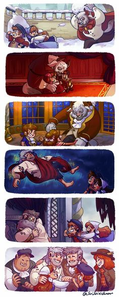 i wanted to draw some scenes from my Beauty and the Beast AU! i absolutely had to draw the snowball fight between Stan and the kids, haha. the second image is of everyone sitting in front of the. The Beast Gravity Falls Funny, Gravity Falls Comics, Gravity Falls Crossover, Gravity Falls Fan Art, Funny Disney Memes, Funny Cartoons, Funny Memes, Triste Disney, Desenhos Gravity Falls