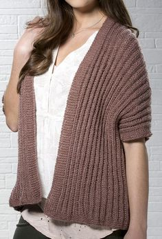 Free Knitting Pattern for 1 Row Repeat Rosy Disposition Cardi - This cardigan wrap is knit with a one row repeat Mistake Rib stitch in worsted weight yarn. Sises XS, S, M, L, XL. Designed by Stitch Studio Design Team