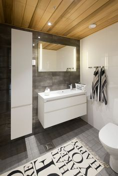 Scandinavian style bathroom centering around clean lines, perfect craftsmanship and understated elegance. Via Honka UK