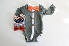 Your little man will be so dapper for fall pictures, coming home from the hospital, or his first thanksgiving in this adorable baby bow tie