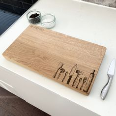 Personalised Kitchen Equipment Chopping Board by Urban Twist, the perfect gift for Explore more unique gifts in our curated marketplace. Oak Chopping Board, Wooden Chopping Boards, Wood Cutting, Cutting Boards, Personalised Chopping Board, Kitchen Quotes, Kitchen Equipment, Wooden Kitchen, Old Wood