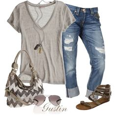 Grey tee + cropped distressed jeans + sandals