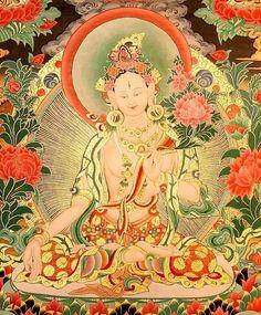 White Tara, the bodhisattva of long-life. Om Tare Tu Tare Ture Mama Ah Yuh Pune Jana Putim Kuru Soha