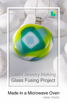 Layered glass fused pendant made in a microwave oven with a microwave kiln. This glass jewelry / jewellery pendant was made with blue COE 96 bullseye glass. Make sure you have a look at our very comprehensive glass fusing course. Learn how you can make your own jewelry today.