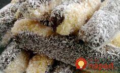 Bez pečenia: Strapaté kokosové tyčinky No Bake Treats, No Bake Desserts, Dessert Recipes, Fudge, Czech Recipes, Ethnic Recipes, Muffins, Ice Cream Candy, Hungarian Recipes
