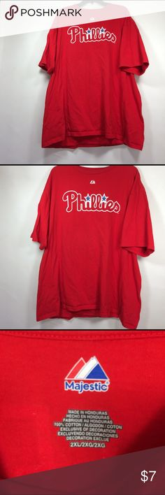 """Philadelphia phillies fan jersey # 33 Lee men's S"""" This fan jersey is men's size 2xl , 100# cotton , primarily red with white and blue graphic. Great way to show your team spirit without paying outrageous prices for players that will eventually be traded. Majestic Shirts Tees - Short Sleeve"""