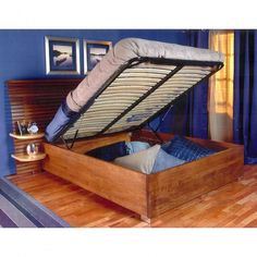 Queen Bed Lift with Platform, End Opening  Great space-saver idea!  #bedspace #hiddenstorage #storage #bedlift