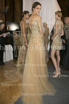 399 2014 zuhair murad evening dresses long sleeve gold appliques