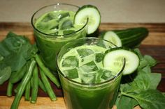 The Green Bean: 2 large handfuls of green beans (about 200g), 1 bunch of spinach, 2 cucumbers, 1 lemon