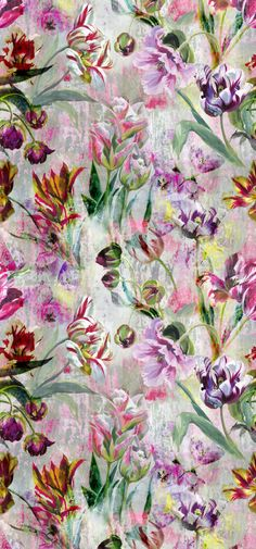 The design of our Tulipa Stellata wallpaper panel seen in glorious detail