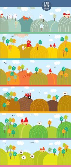 #illustrazioni per l'infanzia, paesaggi agresti con rimandi alle #favole
