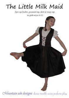 The Little Milkmaid costume pdf sewing pattern dance skirt mop hat girls sizes 3-12