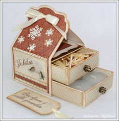 Mariannes papirverden.: Eske med to skuffer. 3d Paper Crafts, Paper Crafting, Craft Gifts, Diy Gifts, 3d Templates, Matchbox Crafts, Cute Candles, Altered Boxes, Craft Box