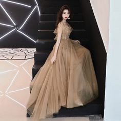 Brown lace tulle v-neck ruffled sleeve evening dress, celebrity sexy party prom dress from original factory
