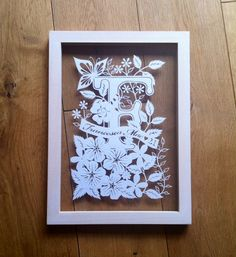 Framed papercut commission by Emma Boyes