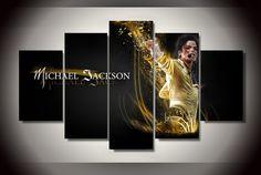 Michael Jackson Music Artist Canvas HD Wall Decor 5PC Framed oil Painting Room Art