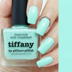 Tiffany Nail Polish, Picture Polish. Just like it's named for, a perfect match!!! Fyi, most of the lighter and vibrant polishes are layered over a white nail base color.