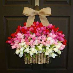 Spring tulip basket for the door / porch