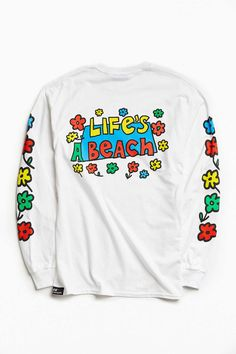 Lifes A Beach Flower Long-Sleeve Tee - Urban Outfitters