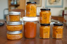 Spicy yellow tomato jam; sweet onion and roasted red pepper butter; and savory apricot jam with shallots and sage from Marisa McClellan (Food in Jars)