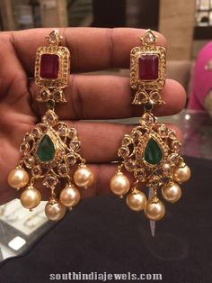 Gold Ruby Emerald Earrings from PSJ – jewelry Indian Jewelry Earrings, Jewelry Design Earrings, Gold Earrings Designs, Emerald Earrings, Beaded Jewelry, Gold Jewellery, Jewellery Designs, Gold Designs, Jewelry Logo