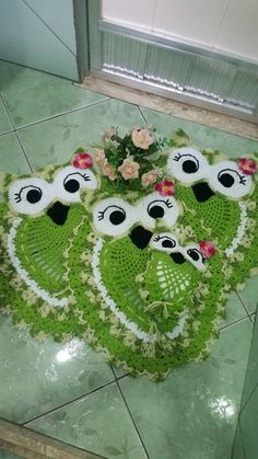jogo de banheiro de crochê coruja charme