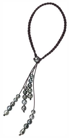 Fountain Necklace, Tahitian - Hottest Designer Pearl and Leather Jewelry Jewelry Knots, Pearl Jewelry, Boho Jewelry, Beaded Jewelry, Jewelery, Jewelry Necklaces, Jewelry Design, Leather Jewelry Making, Leather Necklace