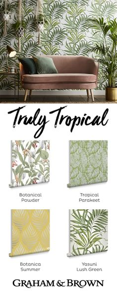 Create your own interior oasis with one of our tropical wallpapers! Our trend specialists at G&B predict the tropical trend it is only going to get bigger in 2019! Modern Home Office Furniture, Office Storage Furniture, Furniture Ads, Furniture Design, Furniture Outlet, Furniture Stores, Bold Wallpaper, Furniture Arrangement, Panel