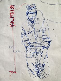 Original thread drawing portrait Esquire magazine serie
