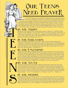 A free printable prayer guide for interceding for your teen   www.flandersfamily.info
