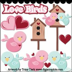 Love Birds Clip Art - Original Artwork by Trina Clark