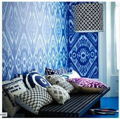 Amazing indigo blue and Ikat pattern.