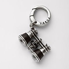 Fossil Binoculars charm with leather wrapping