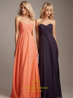 LOVE this Chiffon Sweetheart Bridesmaid Dresses Long Empire Waist Formal Dresses for my ladies (in light pink)