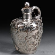 Sterling Silver Overlay Art Nouveau-style Stoppered Decanter   Sale Number 2660M, Lot Number 46   Skinner Auctioneers