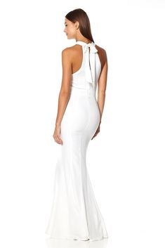 Key hole back Halter neckline Bow tie and zip back fastening Standard length Polyester & Spandex Dry clean only Model wears UK 8 STANDARD and is m / Wedding Nail Colors, Wedding Nails, Halter Neck Maxi Dress, Bridesmaid Dresses, Wedding Dresses, Fishtail, Marie, Formal Dresses, Model