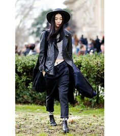 @Who What Wear - Mix it up with a relaxed look by pairing a fitted tank with slouchy black pants.      Sunghee Kim – I'm Koo