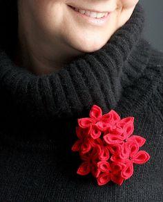Sassy Red Flower Brooch by GoodFloristDesign on Etsy