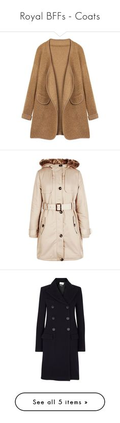 """""""Royal BFFs - Coats"""" by gracebeckett ❤ liked on Polyvore featuring outerwear, camel, women plus size outerwear, coats, pink hooded coat, parka trench coat, formal trench coat, dkny hooded faux-fur-trim parka coat, camel trench coat and double-breasted coat"""
