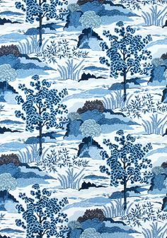 DAINTREE, Blue on White, F985044, Collection Greenwood from Thibaut