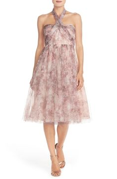 Jenny Yoo 'Maia' Print Tulle Convertible Tea Length Fit