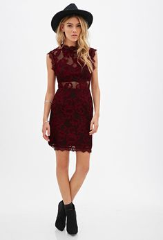 $34, Floral Lace Sheath Dress by Forever 21. Sold by Forever 21. Click for more info: http://lookastic.com/women/shop_items/154154/redirect