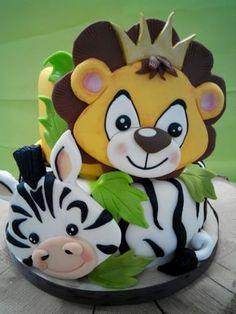 Baby Jungle - Cake by Fernanda de Vita Jungle Safari Cake, Safari Birthday Cakes, Safari Cakes, 1st Birthday Cakes, Safari Party, Jungle Party, Africa Cake, Zoo Cake, Lion King Cakes