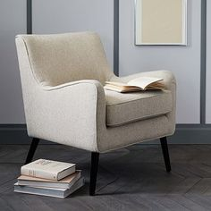 "West Elm $349 26.5""w x 26""d x 32.3""h. Book Nook Armchair"