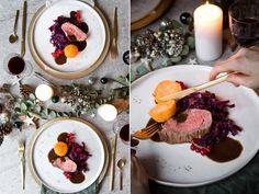 Es geht weiter mit dem Weihnachtsmenü. Nach der feinen Vorspeise mit Muscheln und Safran-Spitzkohl wird es jetzt bunt auf dem Teller. Hier schmeckt eine Komponente besser als die andere und z…