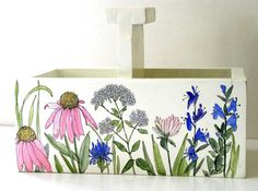 Cottage Painted Nature Planter Box or Tote Hand Painted with Garden Flowers