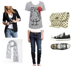 Awesome owl tee paired with blazer and skinny jeans... so good.